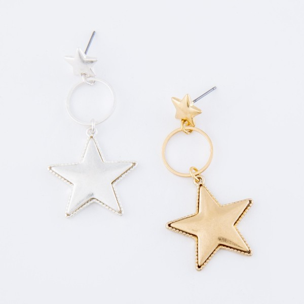 "Star Drop Earrings with Star Stud Post in Worn Gold.  - Approximately 2"" L"