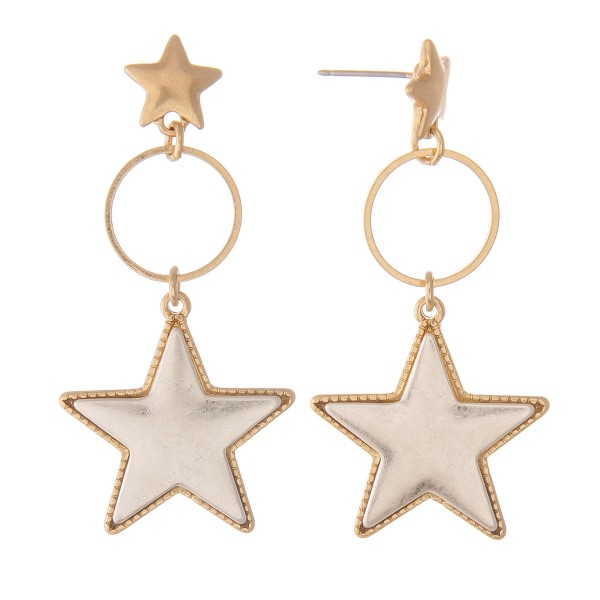 Wholesale two Star Drop Earrings Star Stud Post L