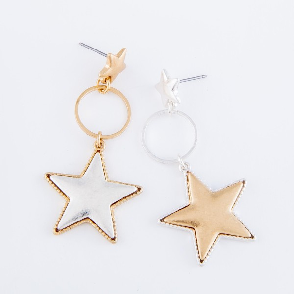 "Two Tone Star Drop Earrings with Star Stud Post.  - Approximately 2"" L"