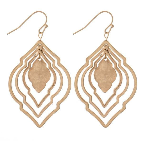"Metal Tone Layered Moroccan Earrings.  - Approximately 2"" L"