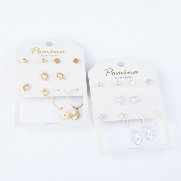 """Simple Boho Stud Earring Set Featuring Star Burst Hoop Earrings.  - 5 pair per set - 4 stud pairs & 1 hoop pair - Approximately 4mm - 1"""" in size"""