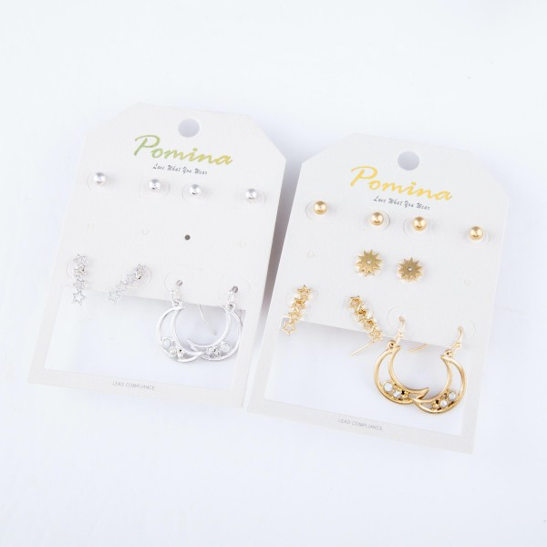 "Stars & Moon Stud & Drop Earring Set Featuring Rhinestone Accents.  - 5 pair per set - 4 stud pair & 1 drop pair - Approximately 4mm - 1"" L"