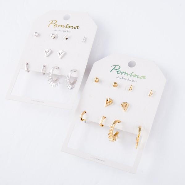 """Simple Boho Stud & Hoop Earring Set.  - 5 pair per set - 4 pair of studs & 1 hoop pair - Approximately 4mm - .75"""" in diameter"""