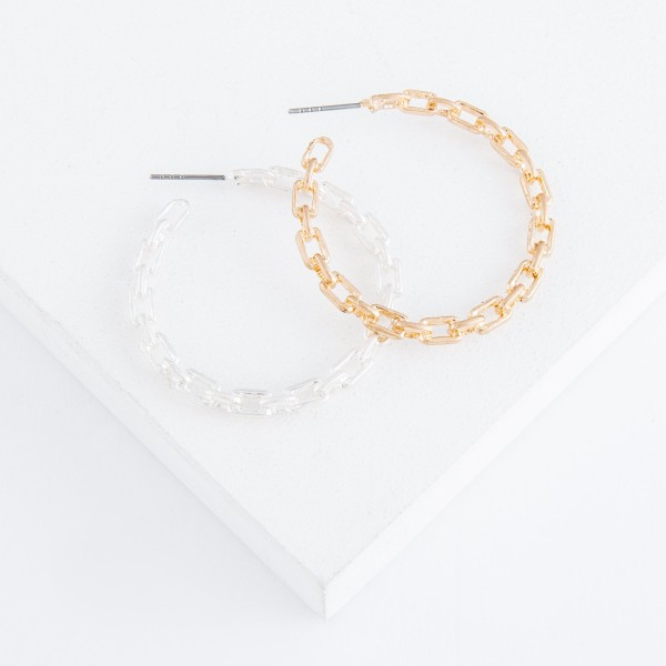 "Textured chain link hoop earrings.  - Approximately 1.5"" in diameter"