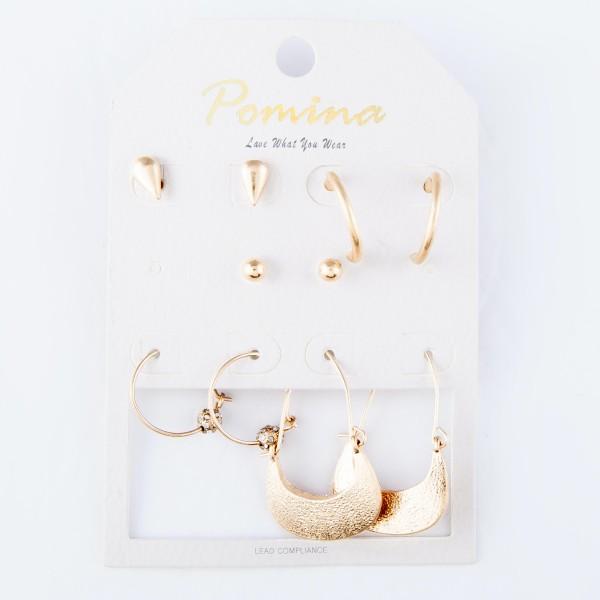 "Simple Stud & Hoop Boho Earrings Set Featuring Rhinestone & Teardrop Accents.  - 5 pair per pack - 2 pair of studs & 3 pairs of hoops - Approximately 4mm - 1"" in size"