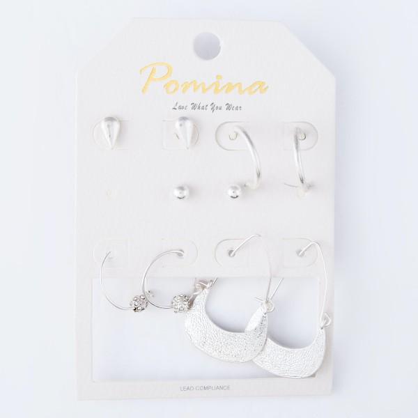 Wholesale simple Stud Hoop Boho Earrings Set Rhinestone Teardrop Accents pair pe