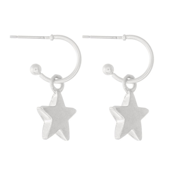 "Star Huggie Hoop Earrings in Worn Silver.  - Approximately 1"" L - Hoop 1cm in diameter"