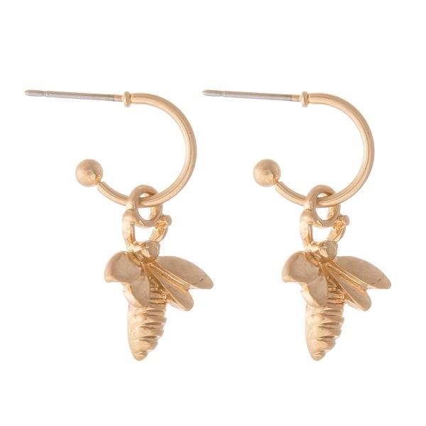 """Bumble Bee Huggie Hoop Earrings in Worn Gold.  - Approximately 1"""" L - Hoop 1cm in diameter"""