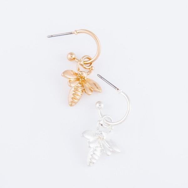"""Bumble Bee Huggie Hoop Earrings in Worn Silver.  - Approximately 1"""" L - Hoop 1cm in diameter"""