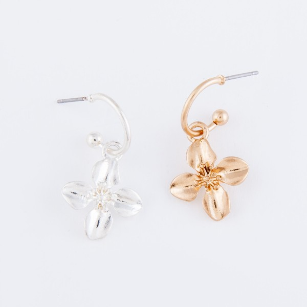 "Flower Huggie Hoop Earrings in Worn Gold.  - Approximately 1"" L - Hoop 1cm in diameter"
