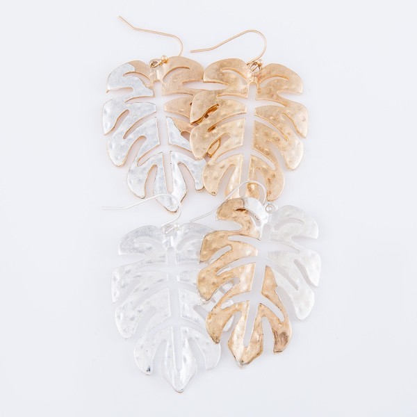 """Two Tone Hammered Palm Leaf Drop Earrings.  - Approximately 2"""" L"""