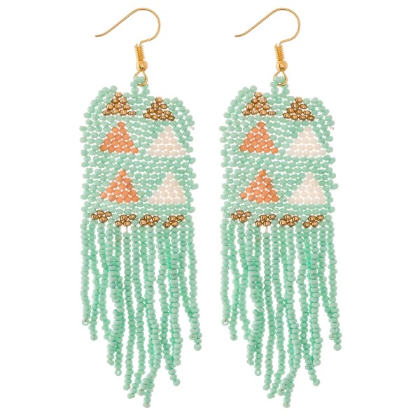 "Seed Beaded Triangle Print Fringe Tassel Statement Earrings.  - Approximately 4"" L"