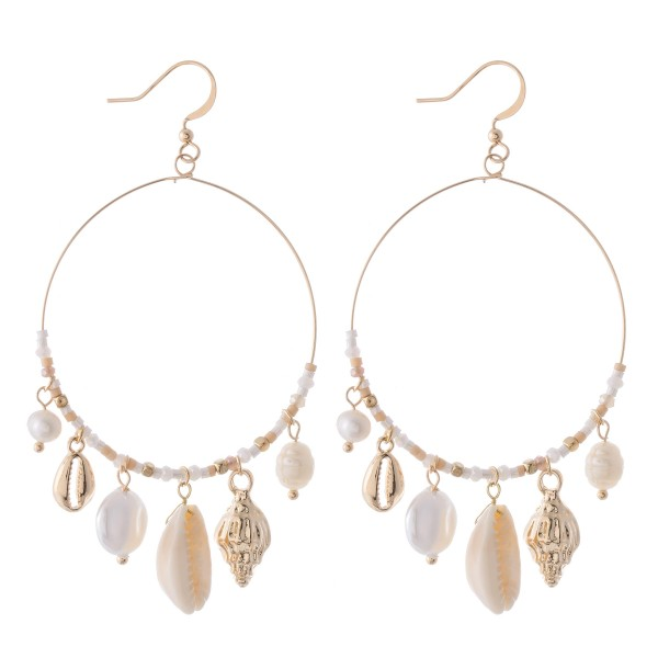 """Beaded shell drop earrings with pearl accents.  - Approximately 3"""" L"""