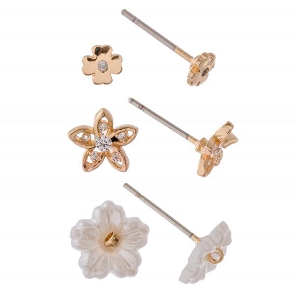 Dainty Gold Cubic Zirconia flower stud earring set.  - 3pcs/set - Approximately 5mm in diameter