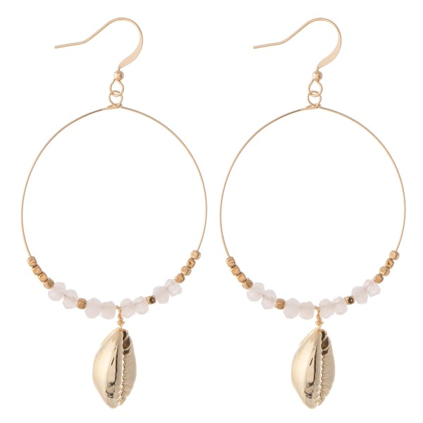 """Beaded Gold Puka shell drop earrings.  - Approximately 3"""" L"""