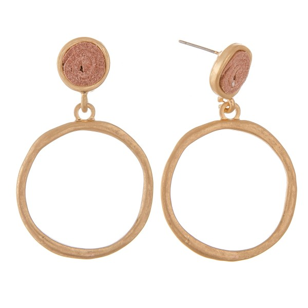 """Faux leather encased hammered drop earrings.  - Approximately 2"""" L"""