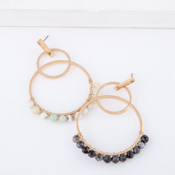 """Natural Stone Beaded Circle Linked Drop Earrings.  - Approximately 2.5"""" L"""
