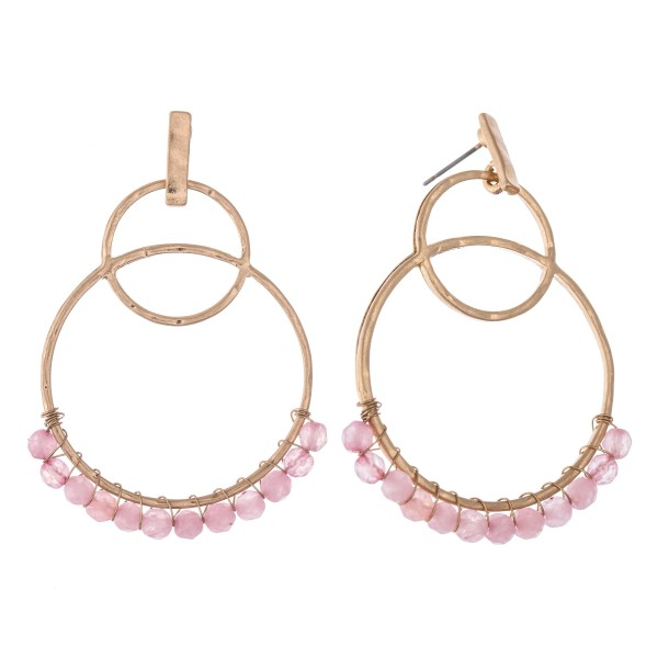 Wholesale natural Stone Beaded Circle Linked Drop Earrings L