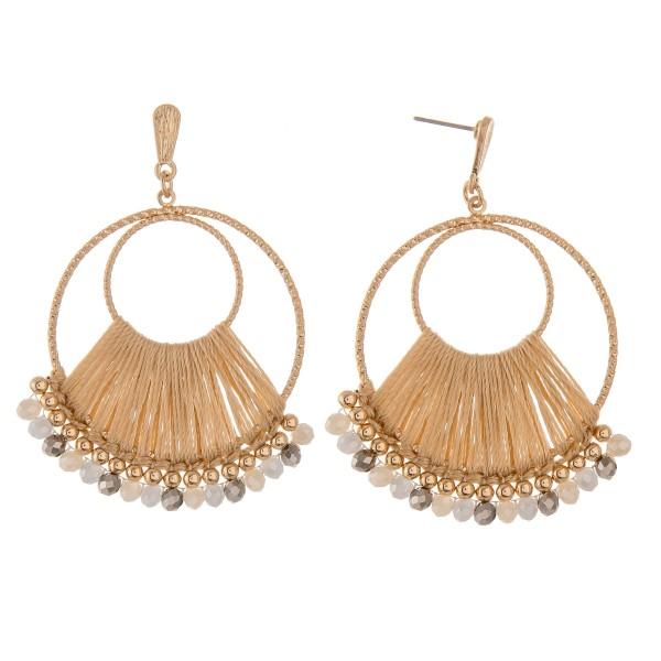 """Thread Wrapped Circular Beaded Boho Drop Earrings.  - Approximately 2.5"""" L"""