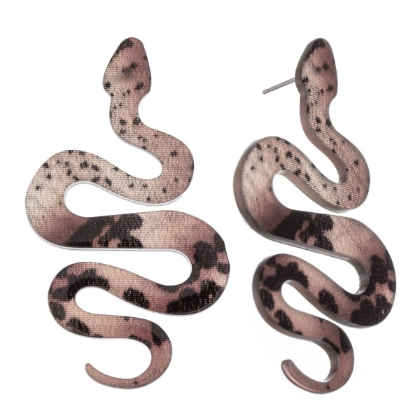 "Resin Snake Drop Earrings.  - Stud Post - Approximately 2.5"" L"