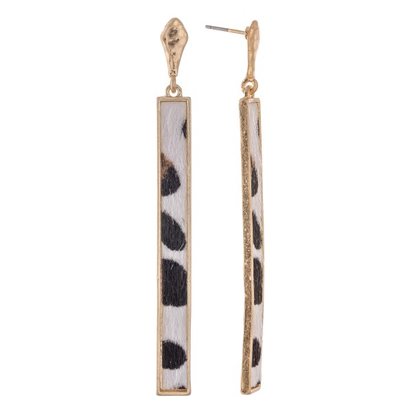 Wholesale metal Encased Faux Leather Animal Print Bar Drop Earrings L