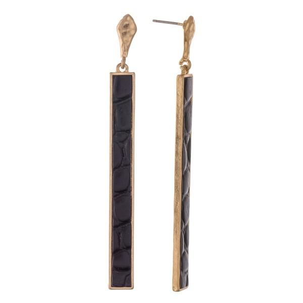 "Metal Encased Faux Leather Animal Print Bar Drop Earrings.  - Approximately 3"" L"