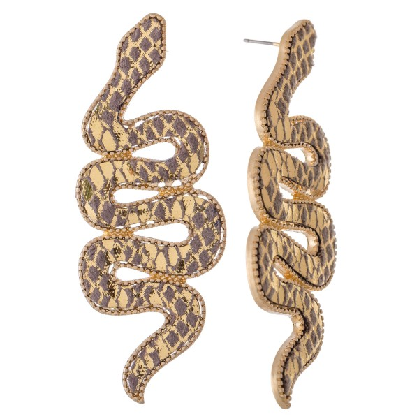 "Faux Leather Statement Snake Earrings.  - Approximately 3"" L"