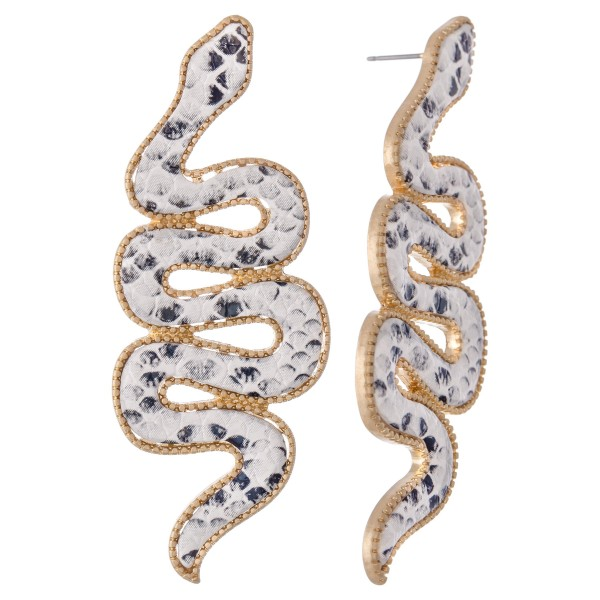 "Snakeskin Statement Snake Earrings.  - Approximately 3"" L"