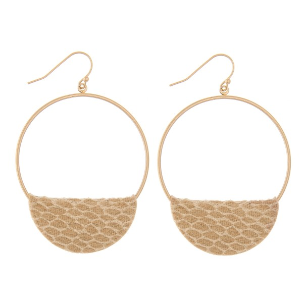 """Faux Leather Snakeskin Cuffed Circular Drop Earrings.  - Approximately 2.5"""" L"""