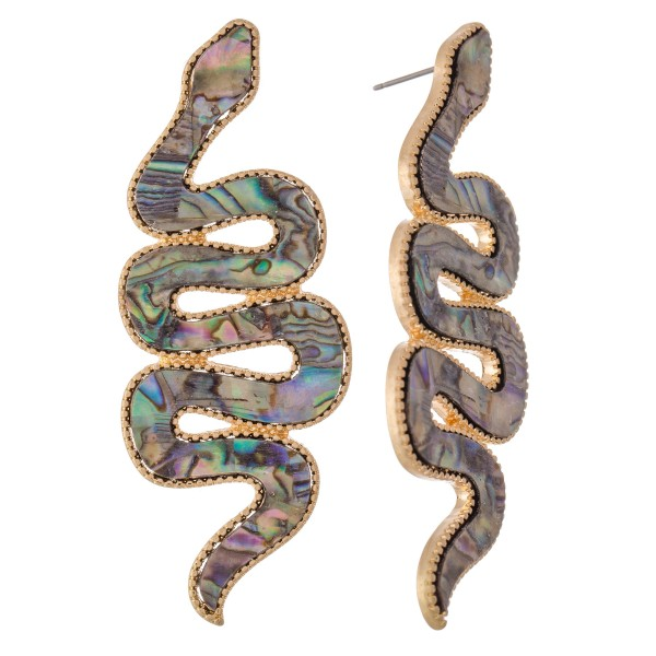 "Metal Encased Statement Snake Earrings.  - Stud post - Approximately 3"" L"