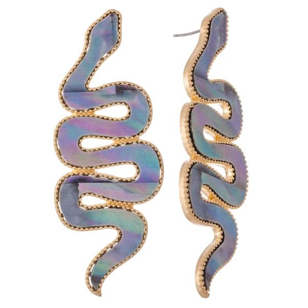 "Metal Encased Statement Snake Earrings.  - Stud post - Approximately 3"" L"