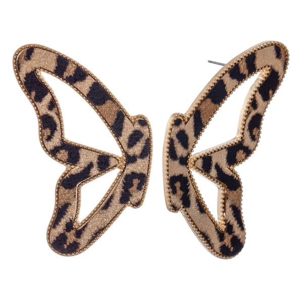 "Leopard print faux leather encased butterfly match drop earrings.  - Stud post - Approximately 2.75"" L"