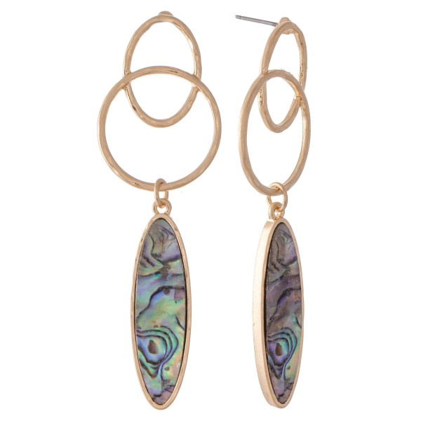 "Abalone Link Drop Earrings.  - Approximately 2.5"" L"