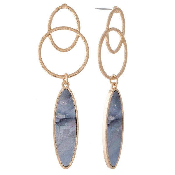 "Mother of Pearl Link Drop Earrings.  - Approximately 2.5"" L"