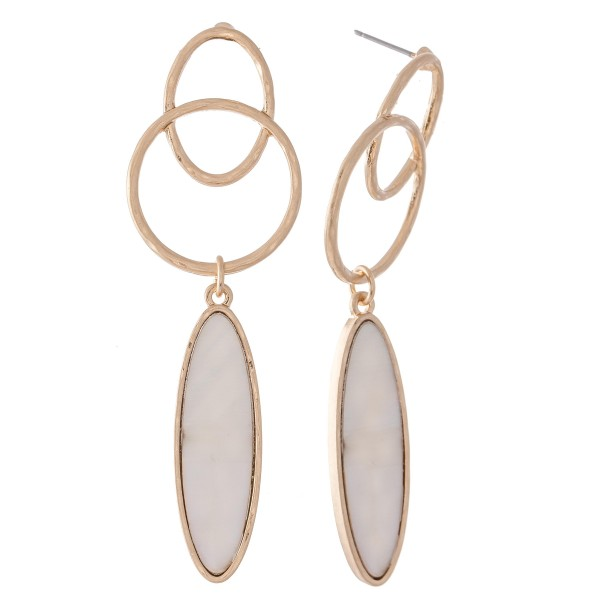 """Mother of Pearl Link Drop Earrings.  - Approximately 2.5"""" L"""