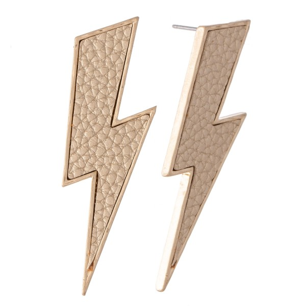 "Faux Leather Statement Lightning Bolt Earrings.  - Approximately 2"" L"