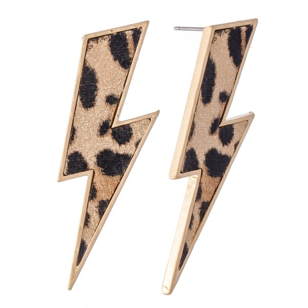 "Leopard Print Statement Lightning Bolt Earrings.  - Approximately 2"" L"