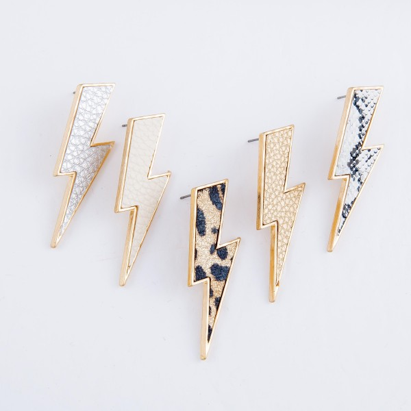 "Snakeskin Statement Lightning Bolt Earrings.  - Approximately 2"" L"