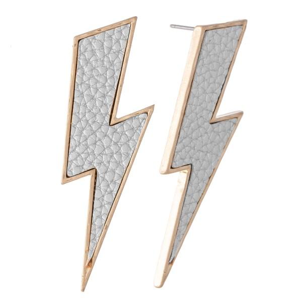 Wholesale faux Leather Statement Lightning Bolt Earrings L