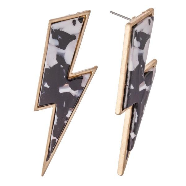 """Resin Lightning Bolt Drop Earrings.  - Approximately 2.25"""" L"""