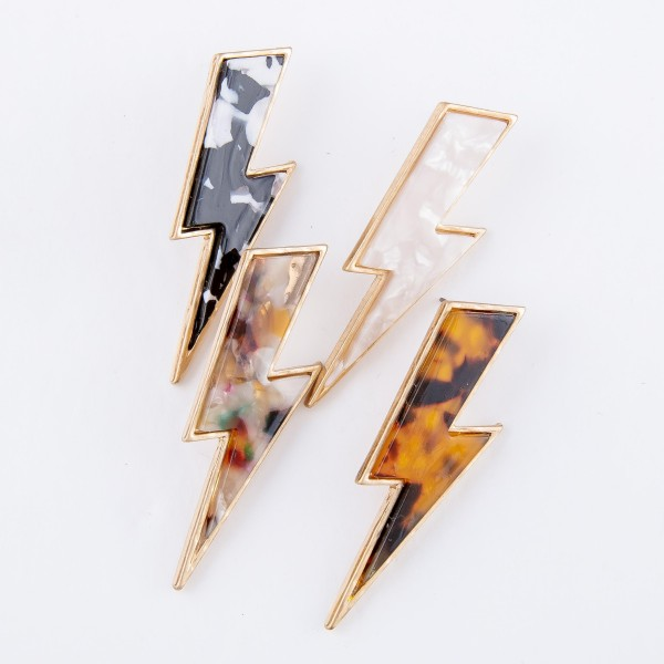 "Tortoise Shell Lightning Bolt Drop Earrings.  - Approximately 2.25"" L"
