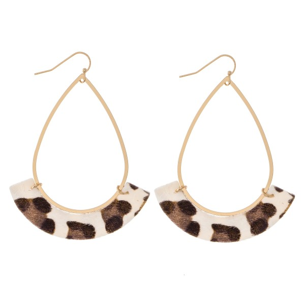 "Gold Teardrop Earrings with Faux Leather Leopard Print Accent.  - Approximately 3"" L"