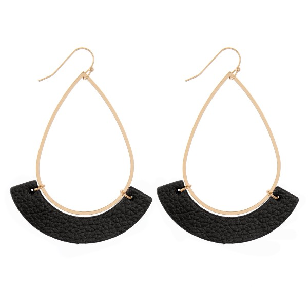 "Gold Teardrop Earrings with Faux Leather Accent.  - Approximately 3"" L"