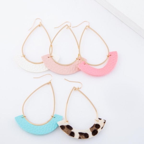 """Gold Teardrop Earrings with Faux Leather Snakeskin Print Accent.  - Approximately 3"""" L"""