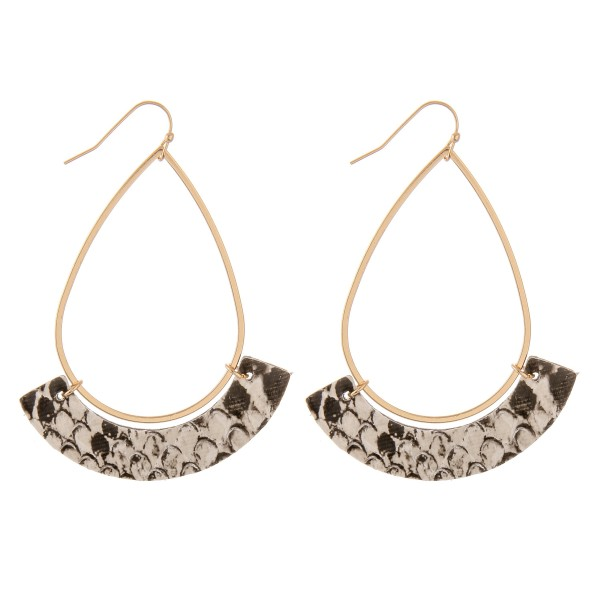 "Gold Teardrop Earrings with Faux Leather Snakeskin Accent.  - Approximately 3"" L"