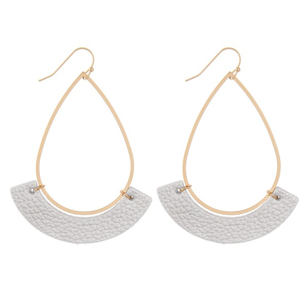 """Gold Teardrop Earrings with Faux Leather Accent.  - Approximately 3"""" L"""
