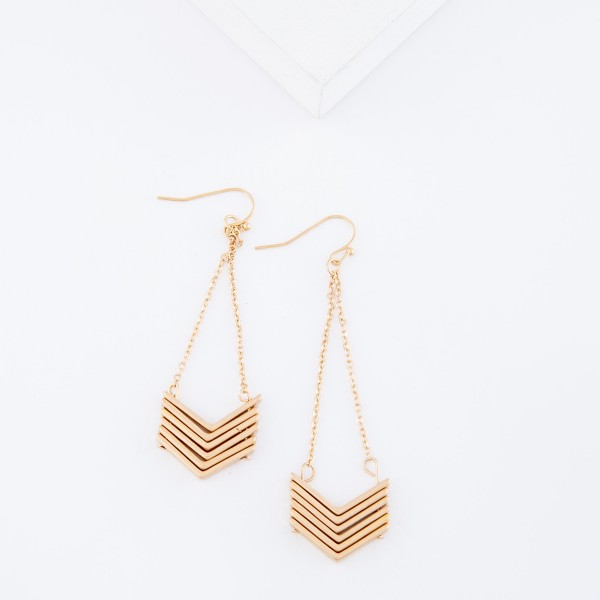 "Gold Chevron Chain Link Drop Earrings.  - Approximately 3"" L"