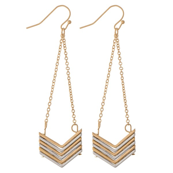 """Two Tone Chevron Chain Link Drop Earrings.  - Approximately 3"""" L"""