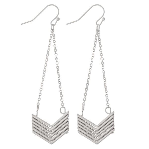 "Silver Chevron Chain Link Drop Earrings.  - Approximately 3"" L"