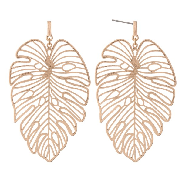 Wholesale metal filigree palm leaf earrings L